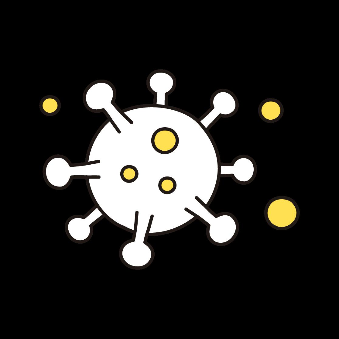 コロナウイルスの単色イラスト