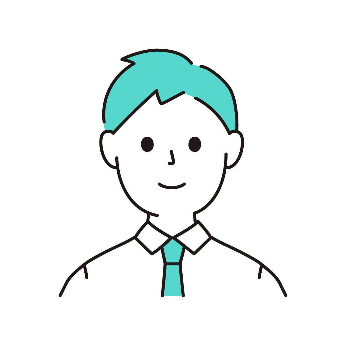 男性(20代~30代)の単色イラスト