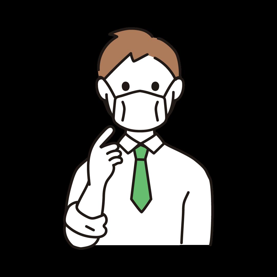 マスクを着用する人
