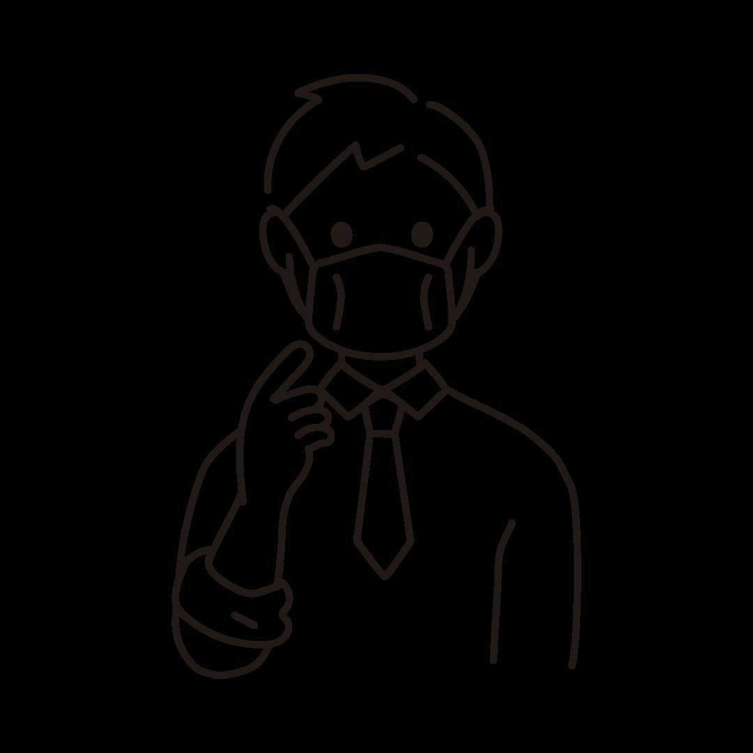 マスクを正しく着用する人のイラスト(線のみ)