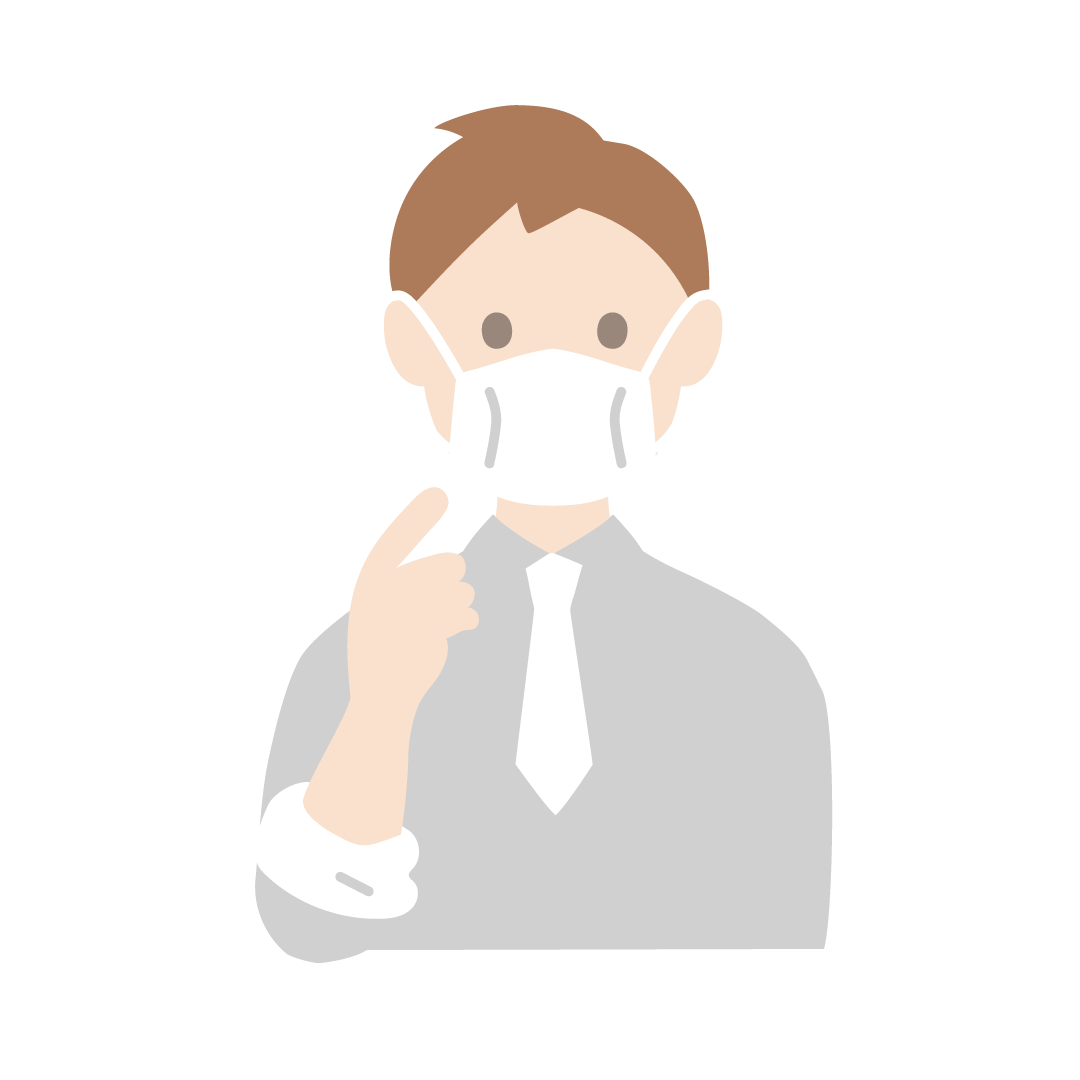 マスクを正しく着用する人のイラスト(塗り)