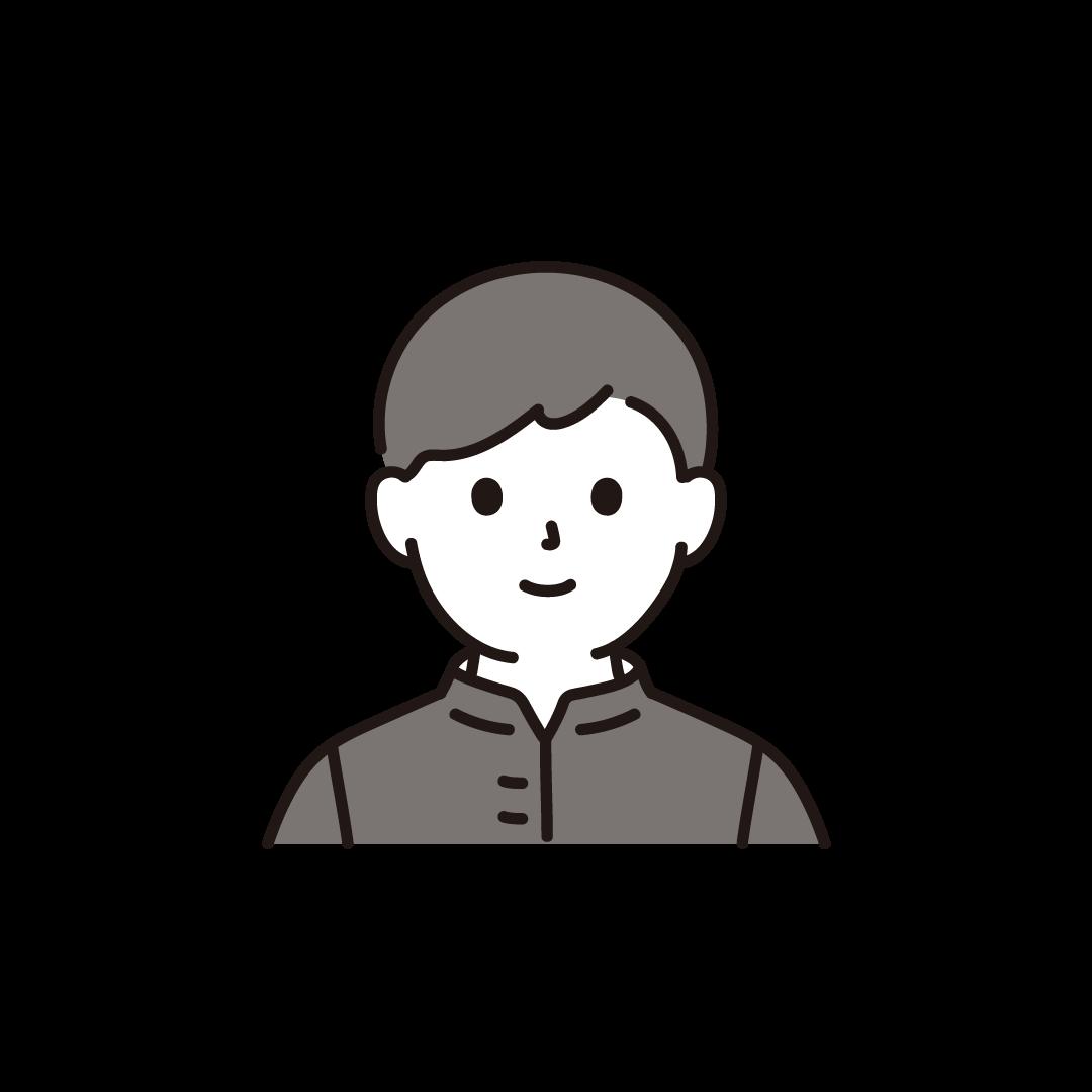 中学生・高校生の男子(上半身)のイラスト