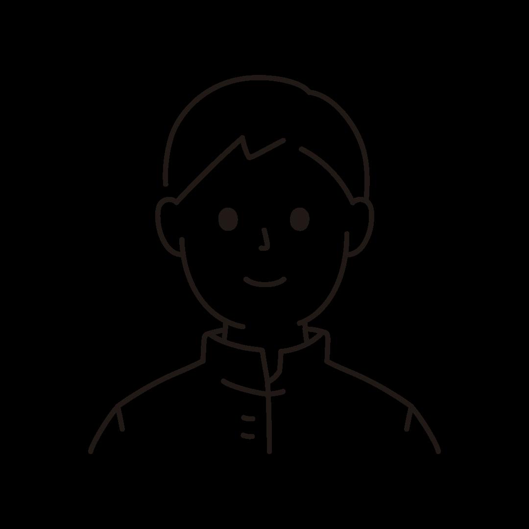 中学生・高校生の男子のイラスト(線のみ)