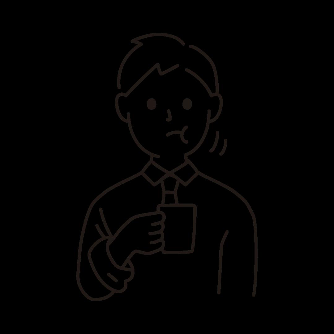 うがいをする人のイラスト(線のみ)