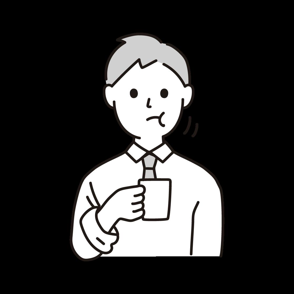 うがいをする人の単色イラスト