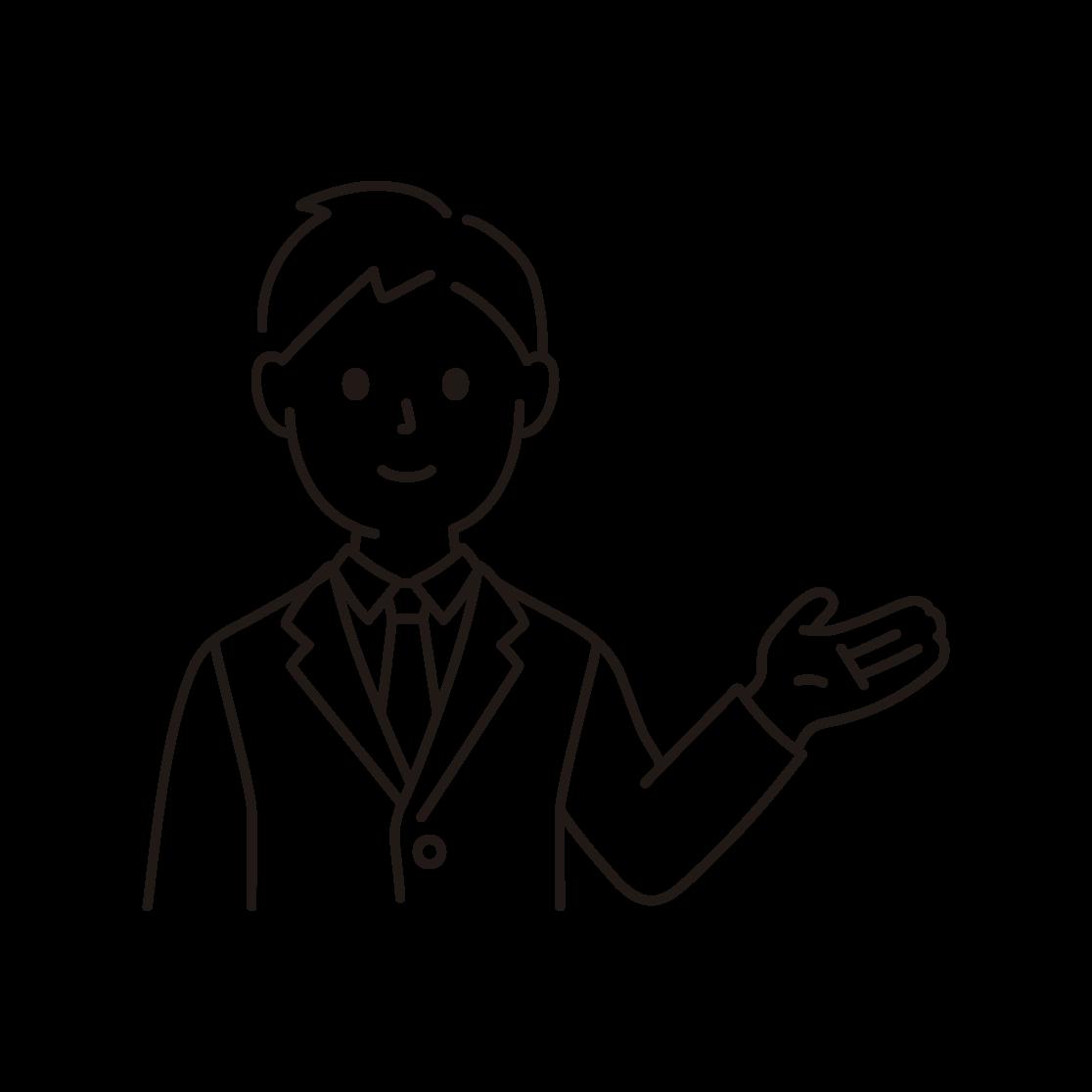 案内するビジネスマンの線画イラスト