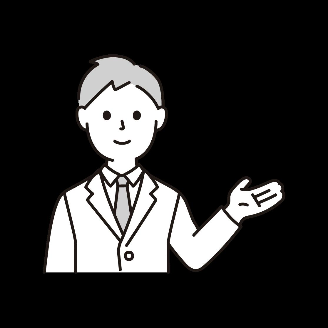 案内するビジネスマンの単色イラスト