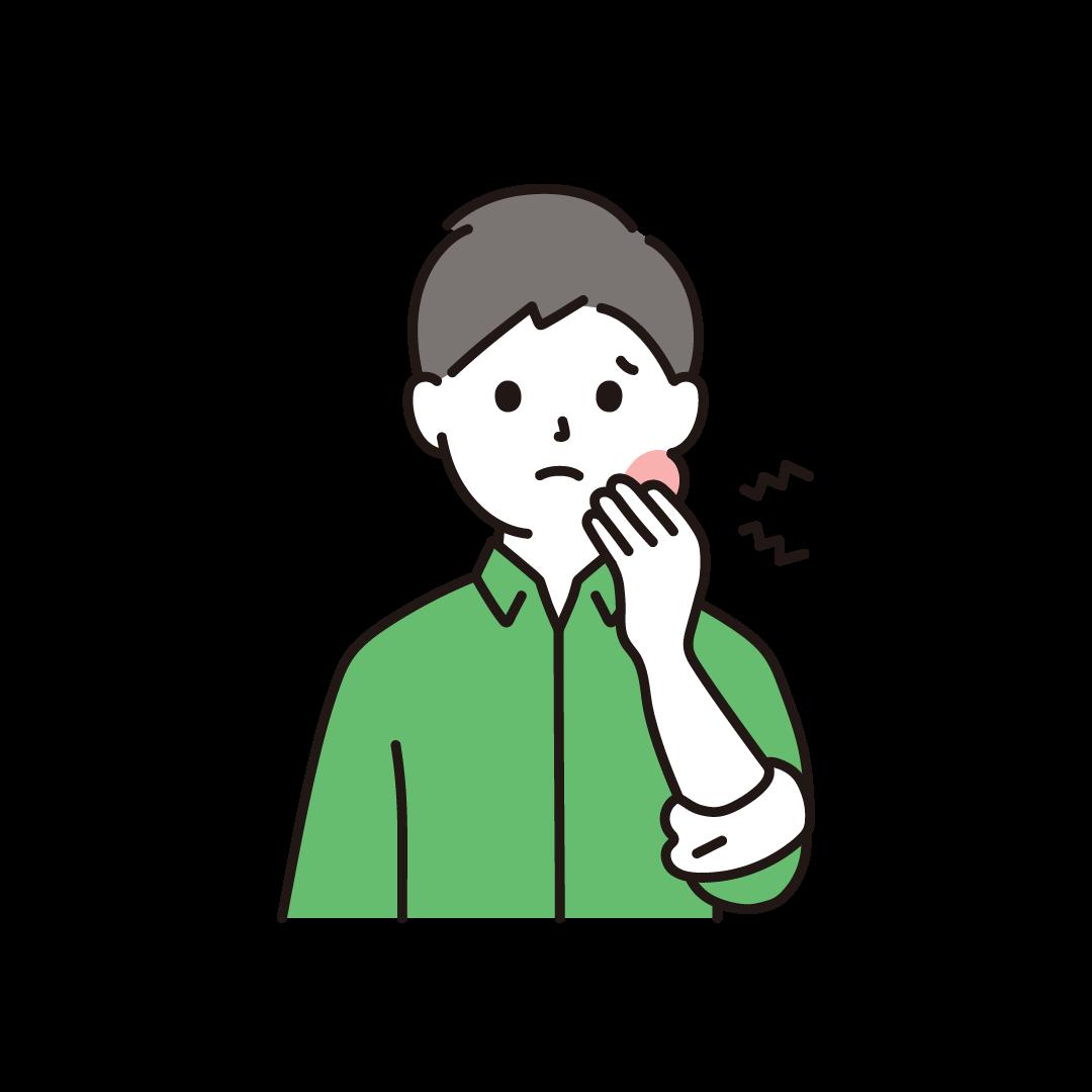 虫歯で頬が腫れている男性のイラスト