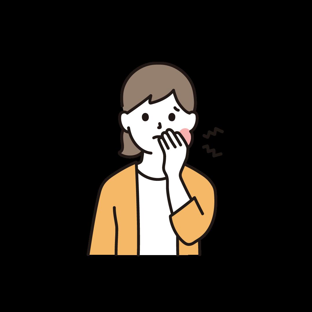 虫歯で頬が腫れている女性のイラスト