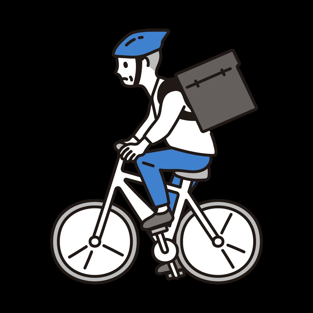 自転車デリバリーをする男性