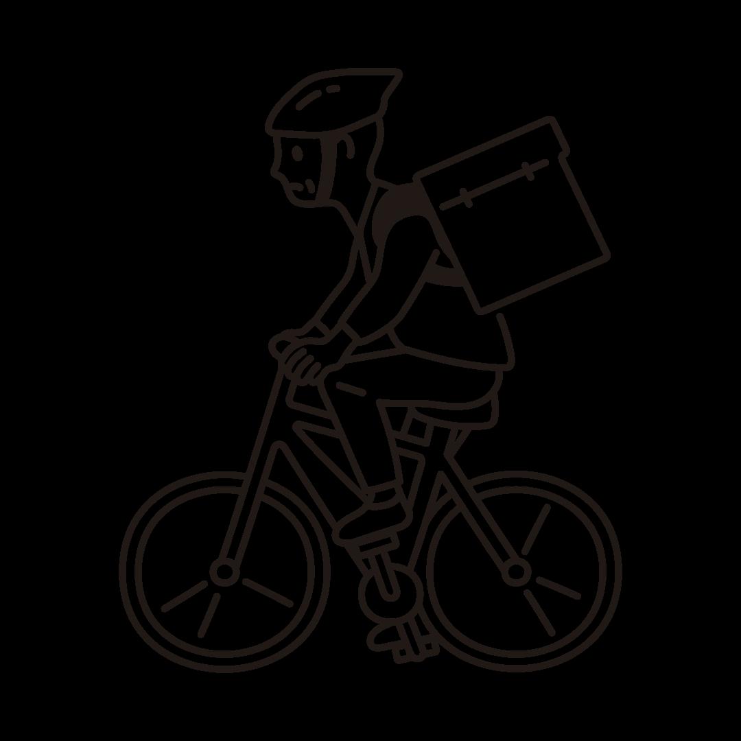 自転車デリバリーをする男性の線画イラスト