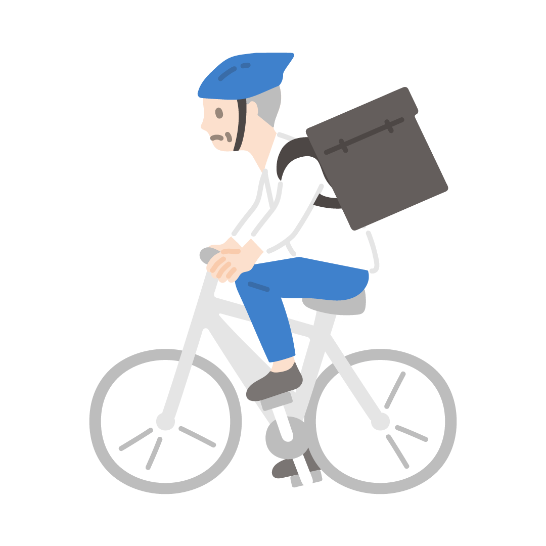 自転車デリバリーをする男性の塗りイラスト