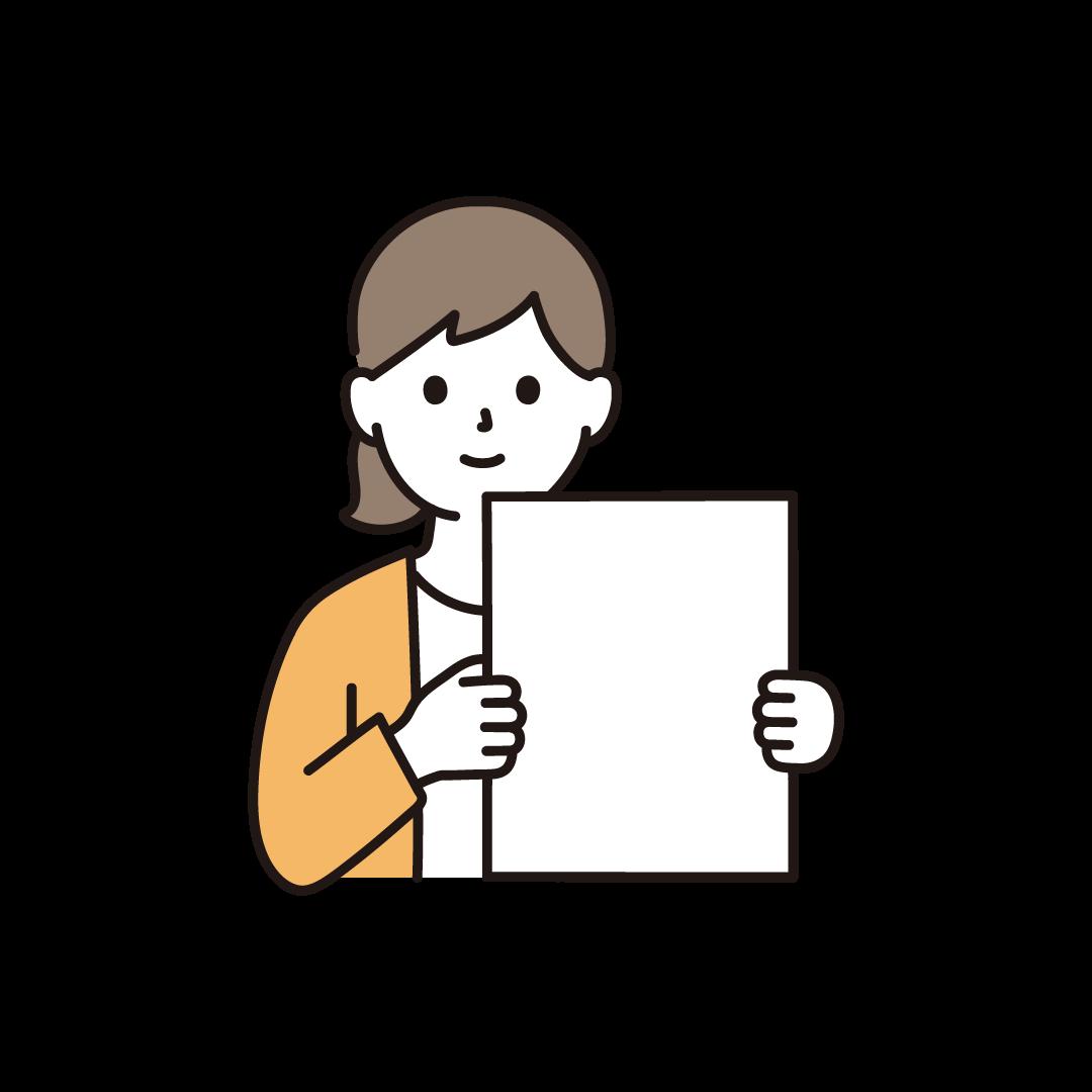 紙・ボードをもつ女性のイラスト
