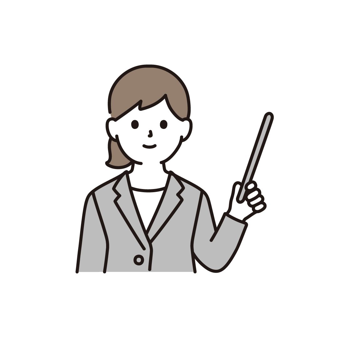 指示棒をもった女性のイラスト