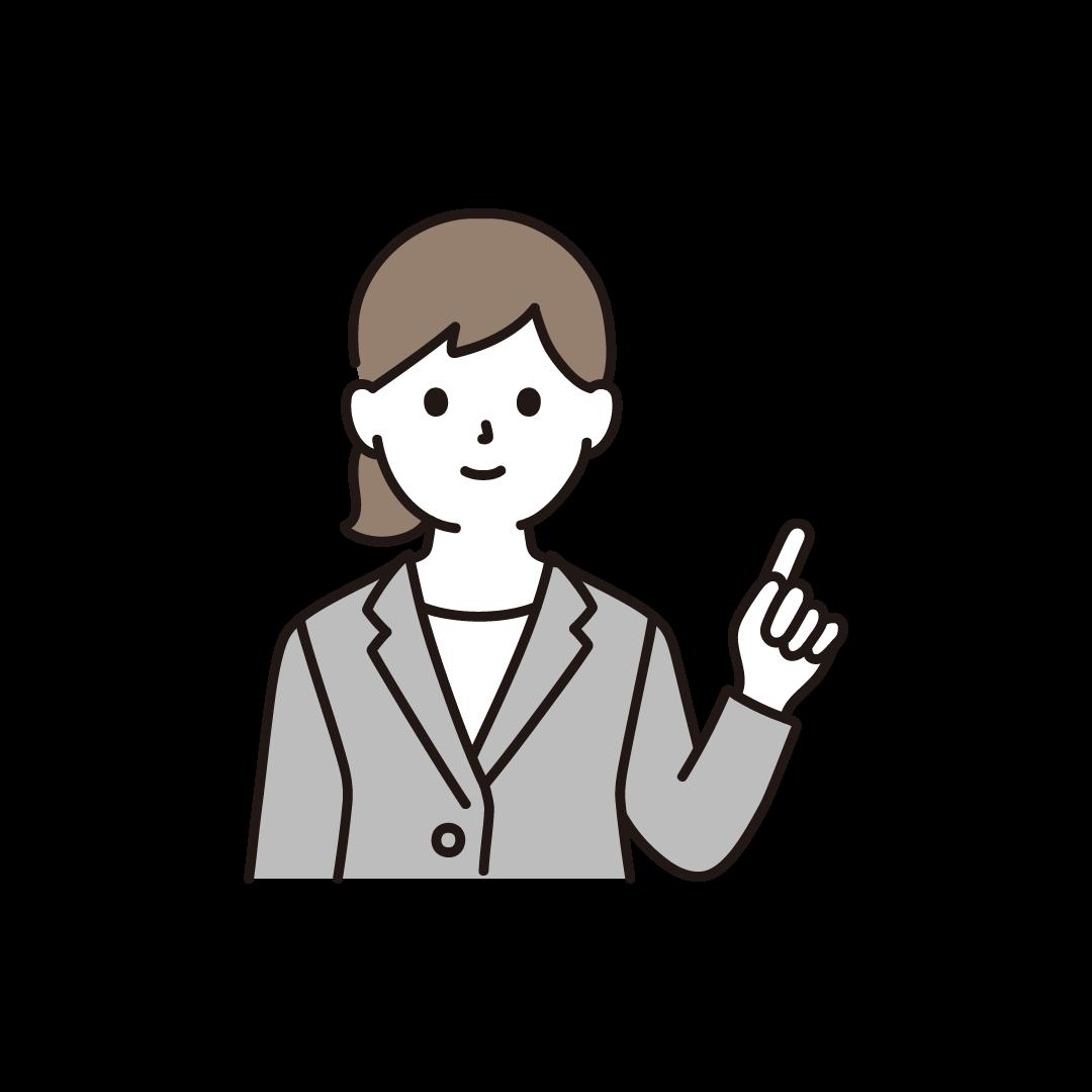 指をさすビジネスウーマンのイラスト