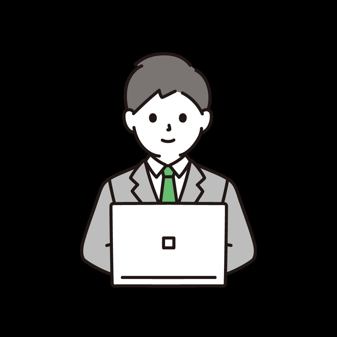 パソコンを打つビジネスパーソンのイラスト