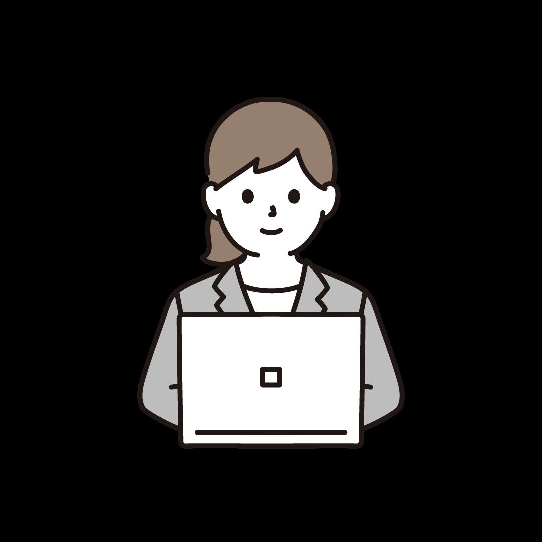 パソコンを打つビジネスウーマンのイラスト