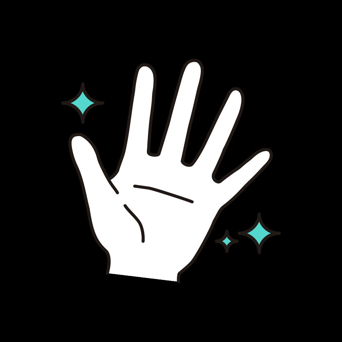 きれいな手の単色イラスト
