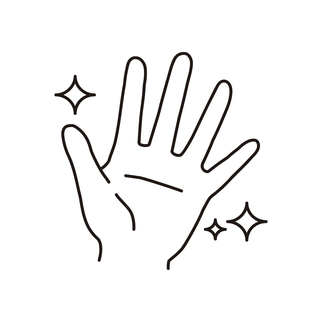 きれいな手のイラスト(線のみ)