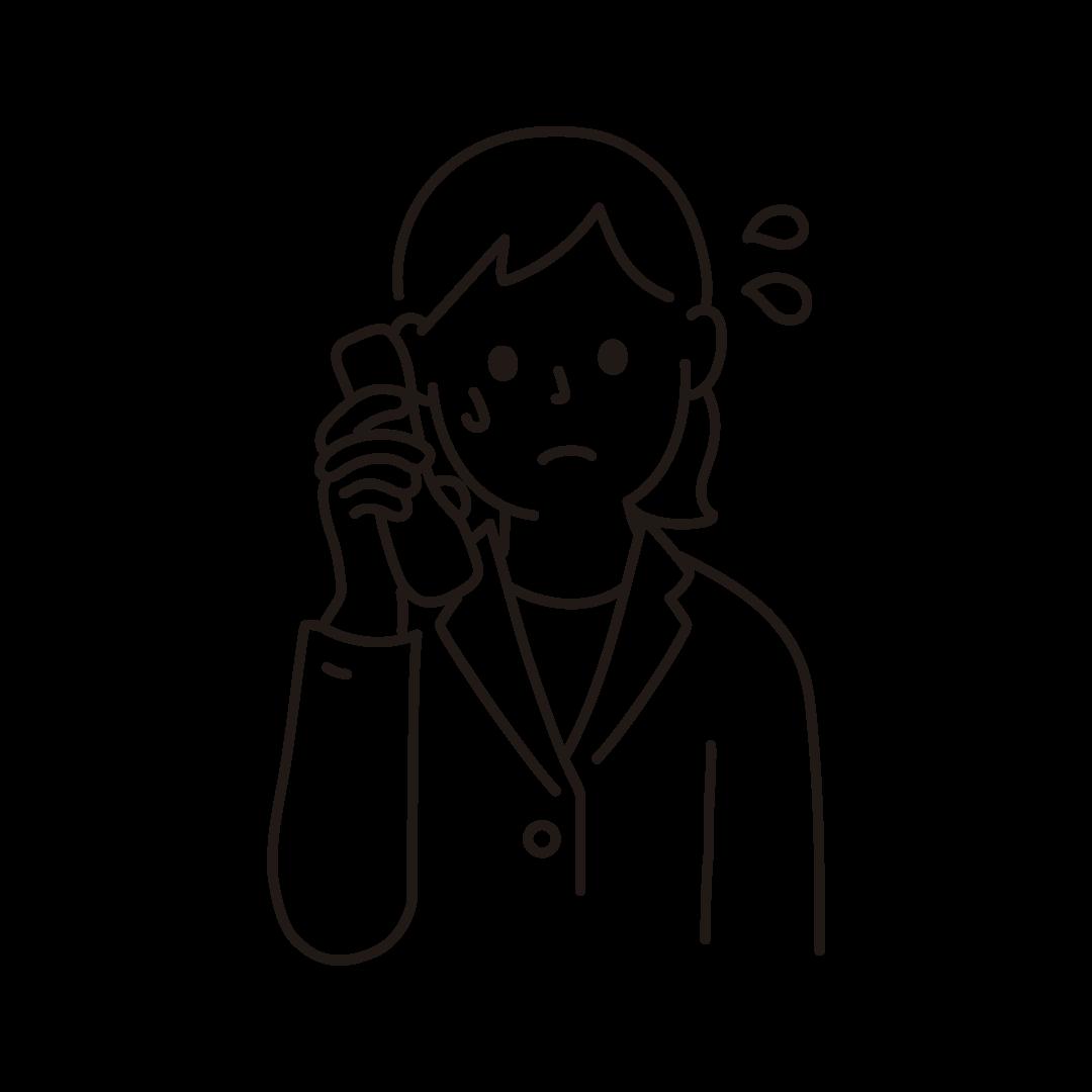 問い合わせの電話に追われる店員のイラスト(線のみ)