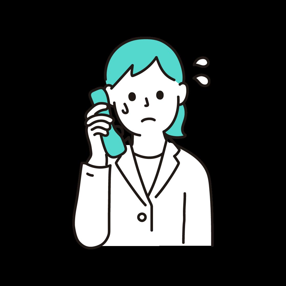 問い合わせの電話に追われる店員の単色イラスト