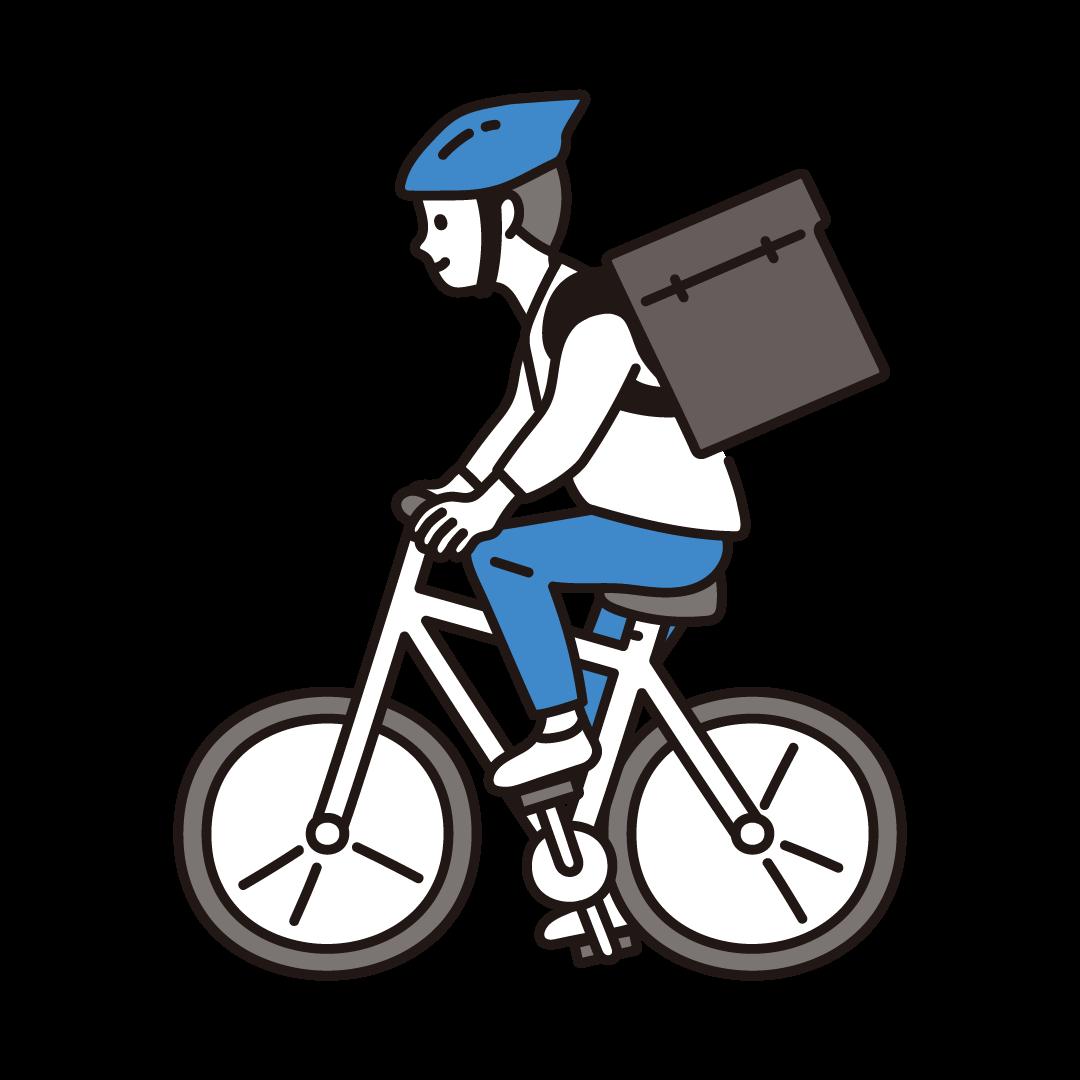 自転車デリバリーをする男性のイラスト