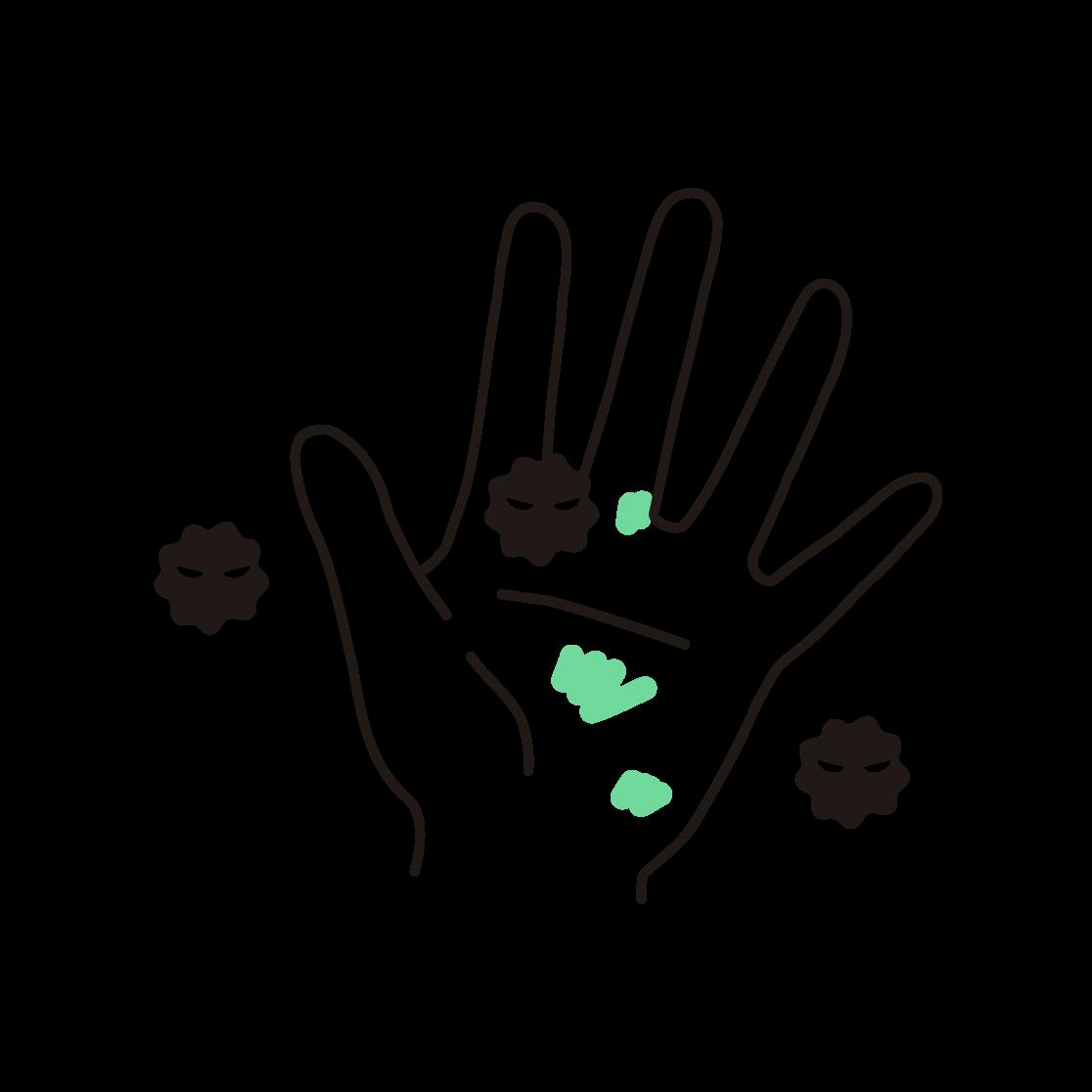 汚れた手の単色イラスト