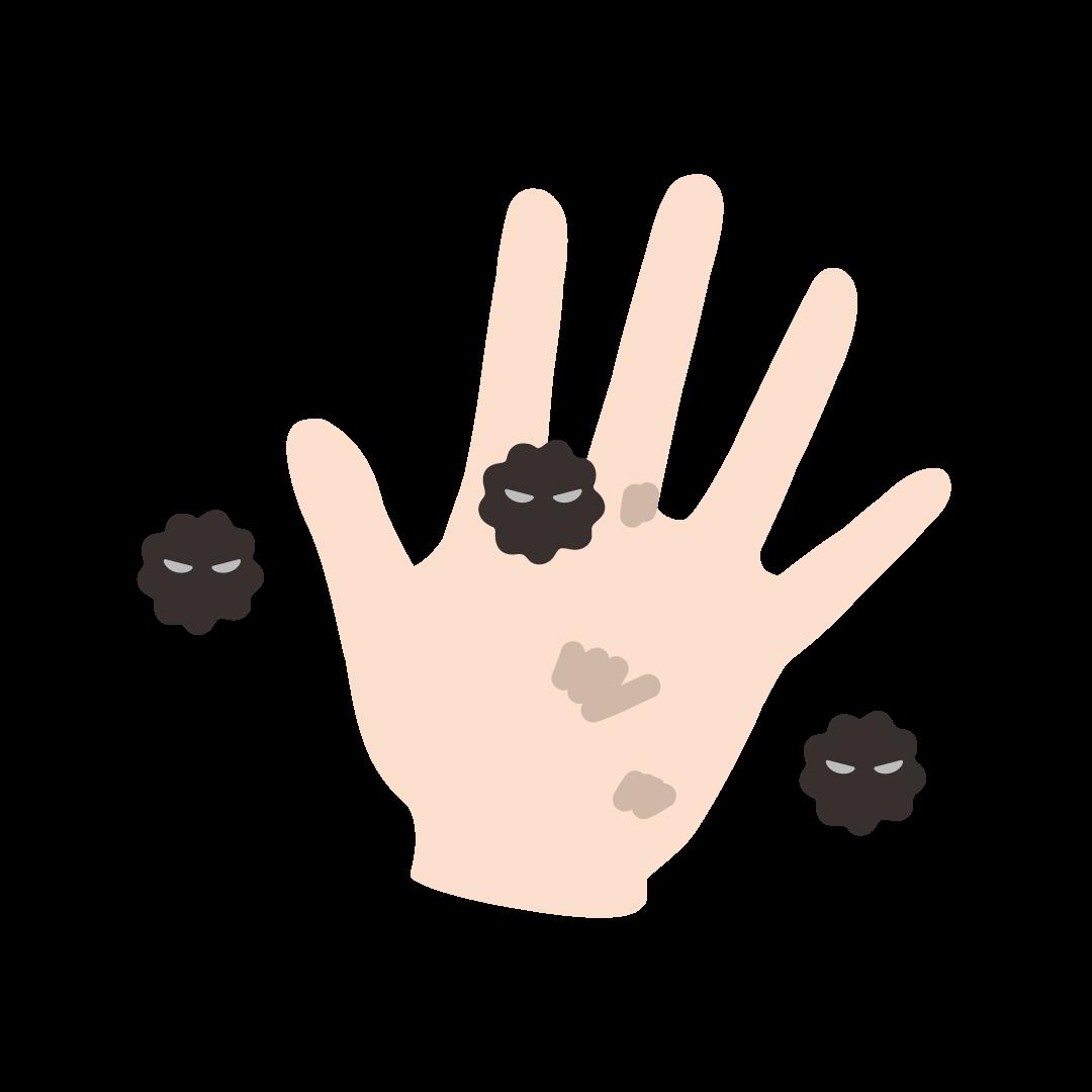 汚れた手のイラスト(塗り)