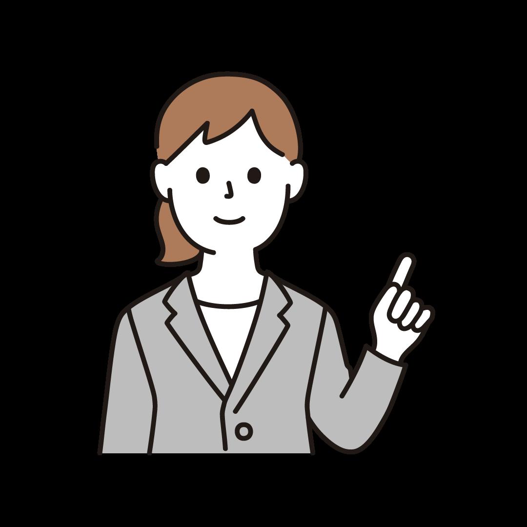 指を立てるビジネスウーマン