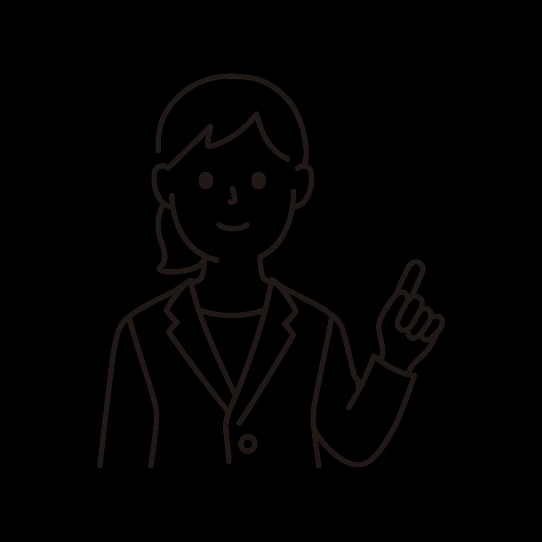 指を立てるビジネスウーマンのイラスト(線のみ)