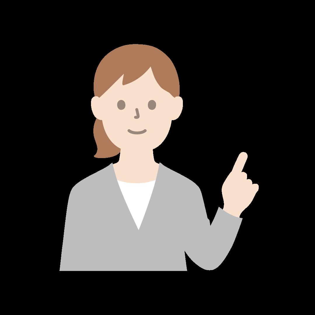 指を立てるビジネスウーマンのイラスト(塗り)