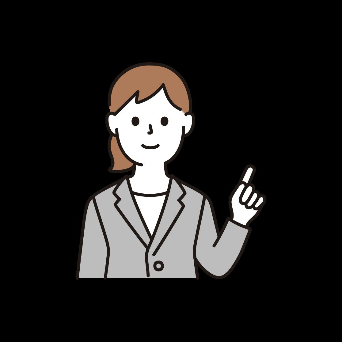 指を立てるビジネスウーマンのイラスト