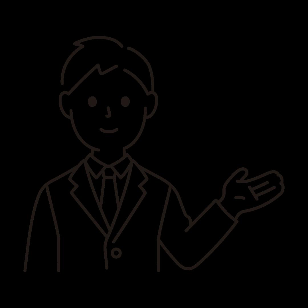 手で案内するビジネスマンのイラスト(線のみ)