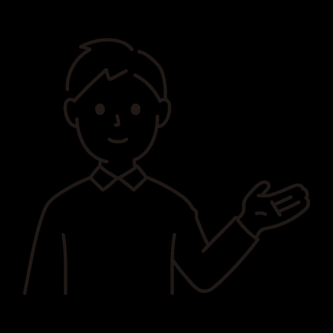 手で案内する男性のイラスト(線のみ)