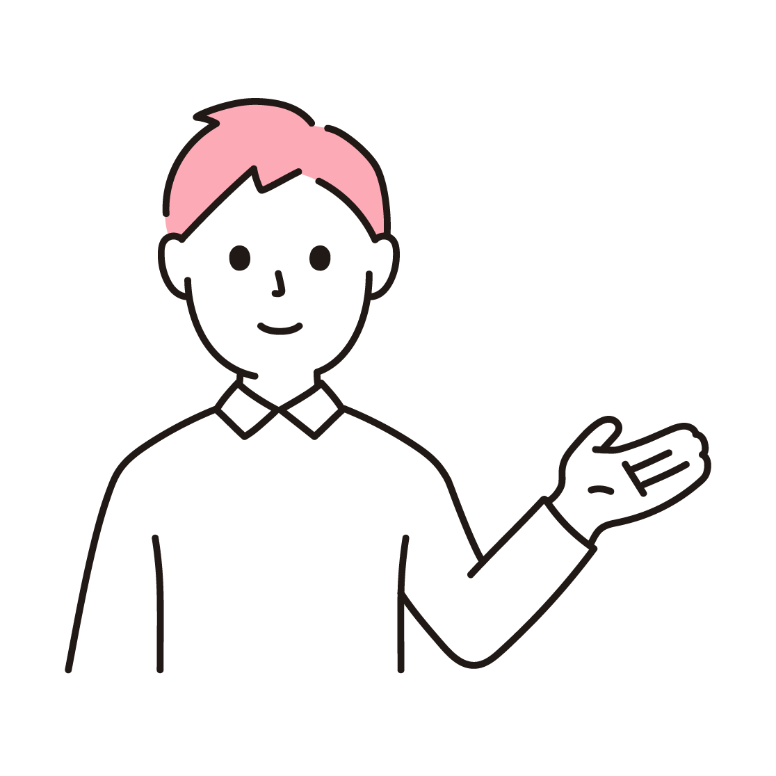 案内する男性の単色イラスト