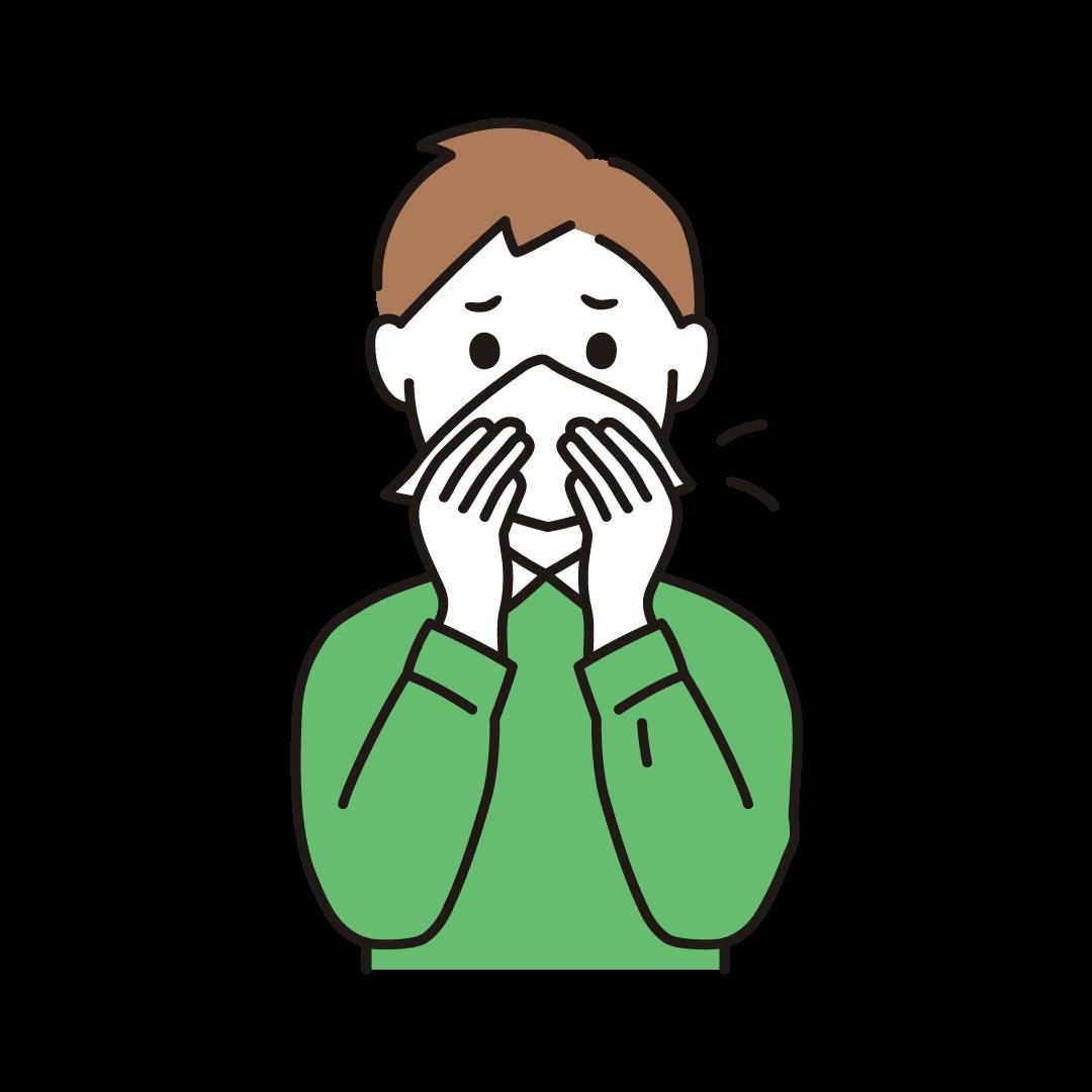 鼻をかむ男性のイラスト