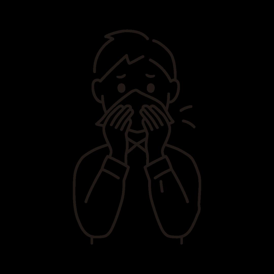 鼻をかむ男性のイラスト(線のみ)