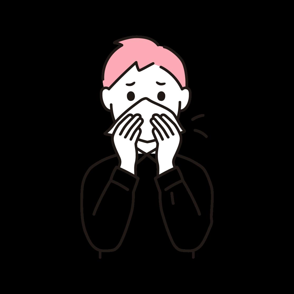 鼻をかむ男性の単色イラスト