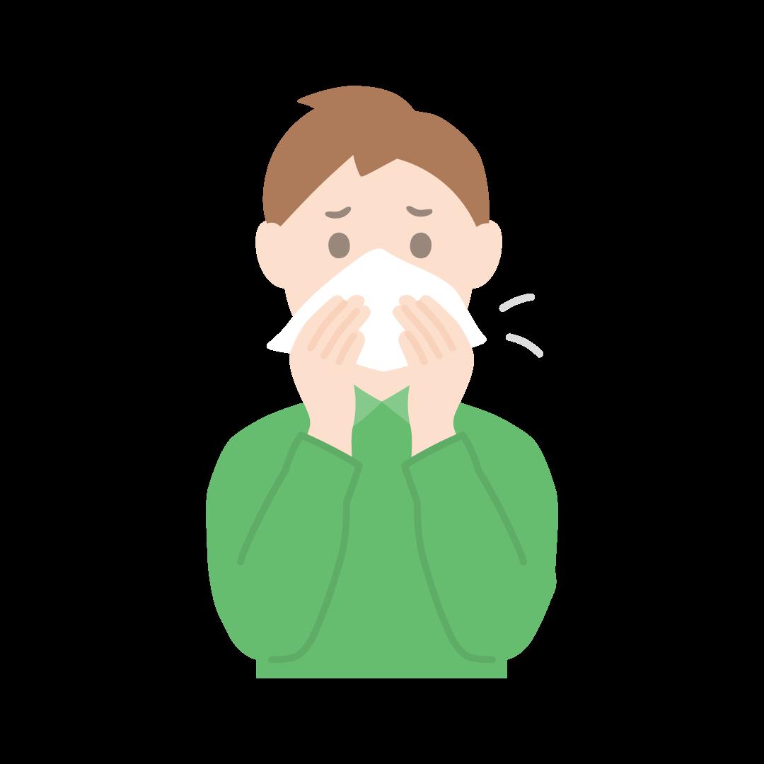 鼻をかむ男性のイラスト(塗り)