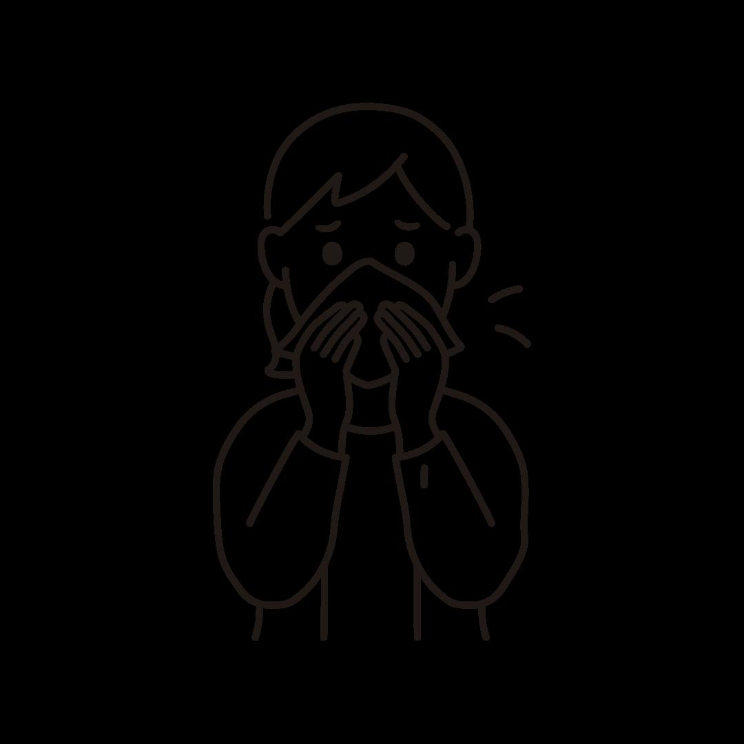 鼻をかむ女性のイラスト(線のみ)