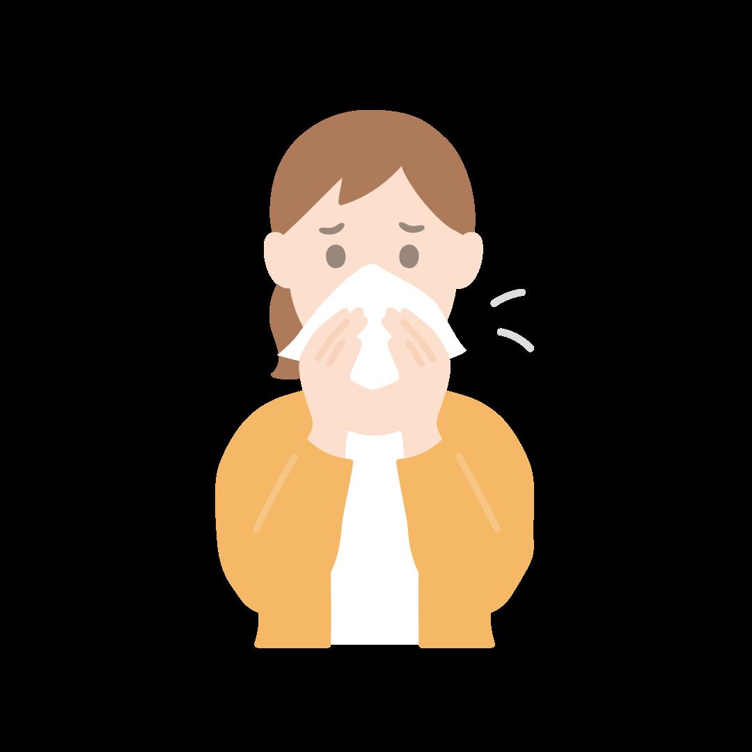 鼻をかむ女性のイラスト(塗り)