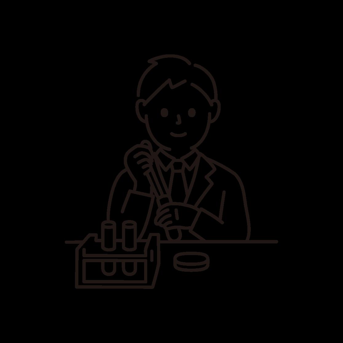 研究・科学実験をする男性の線画イラスト
