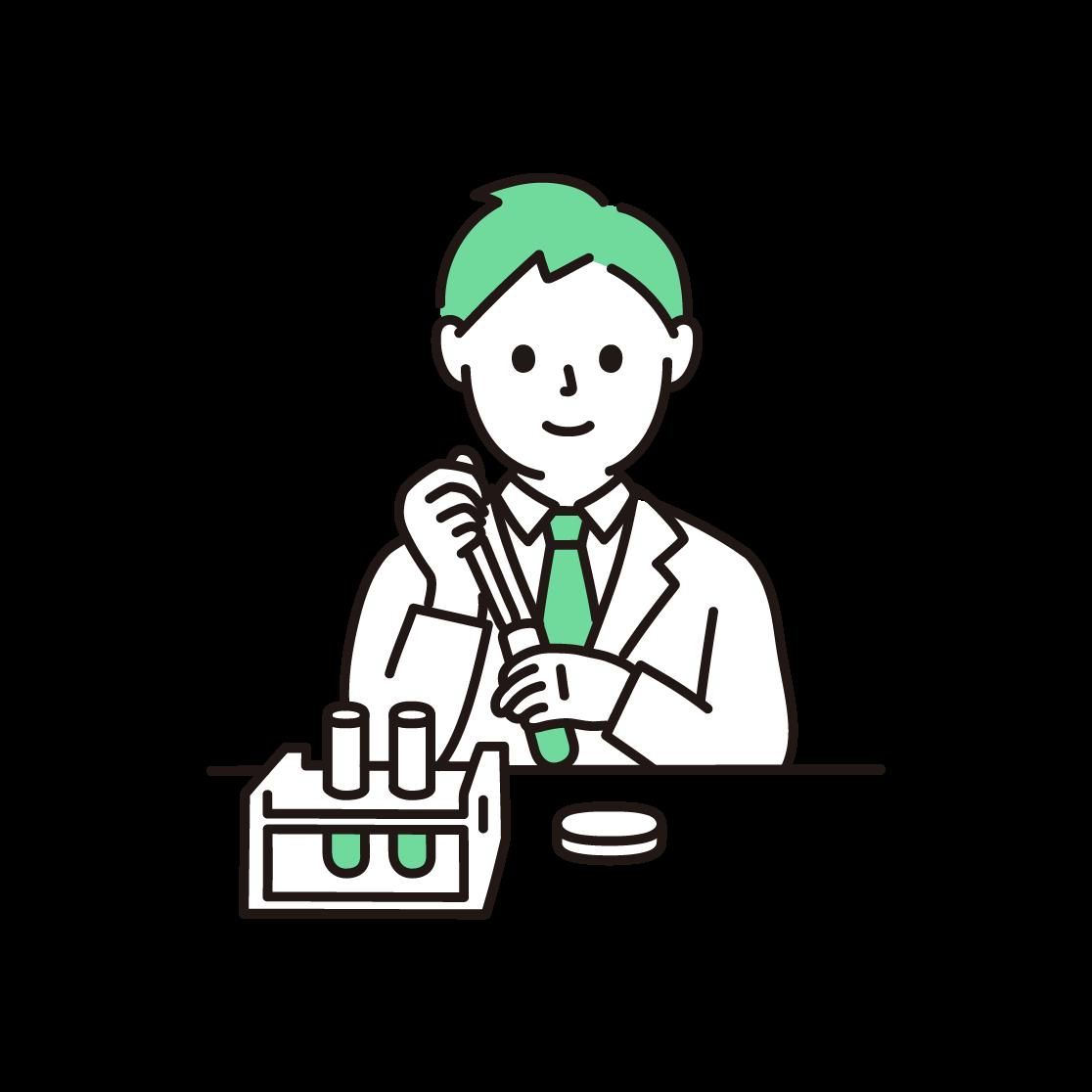研究・実験をする男性の単色イラスト