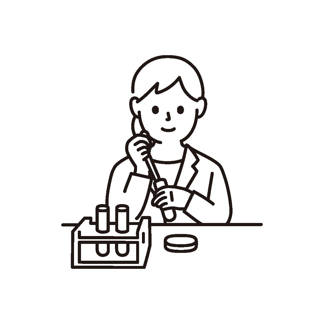 研究・科学実験をする女性の線画イラスト