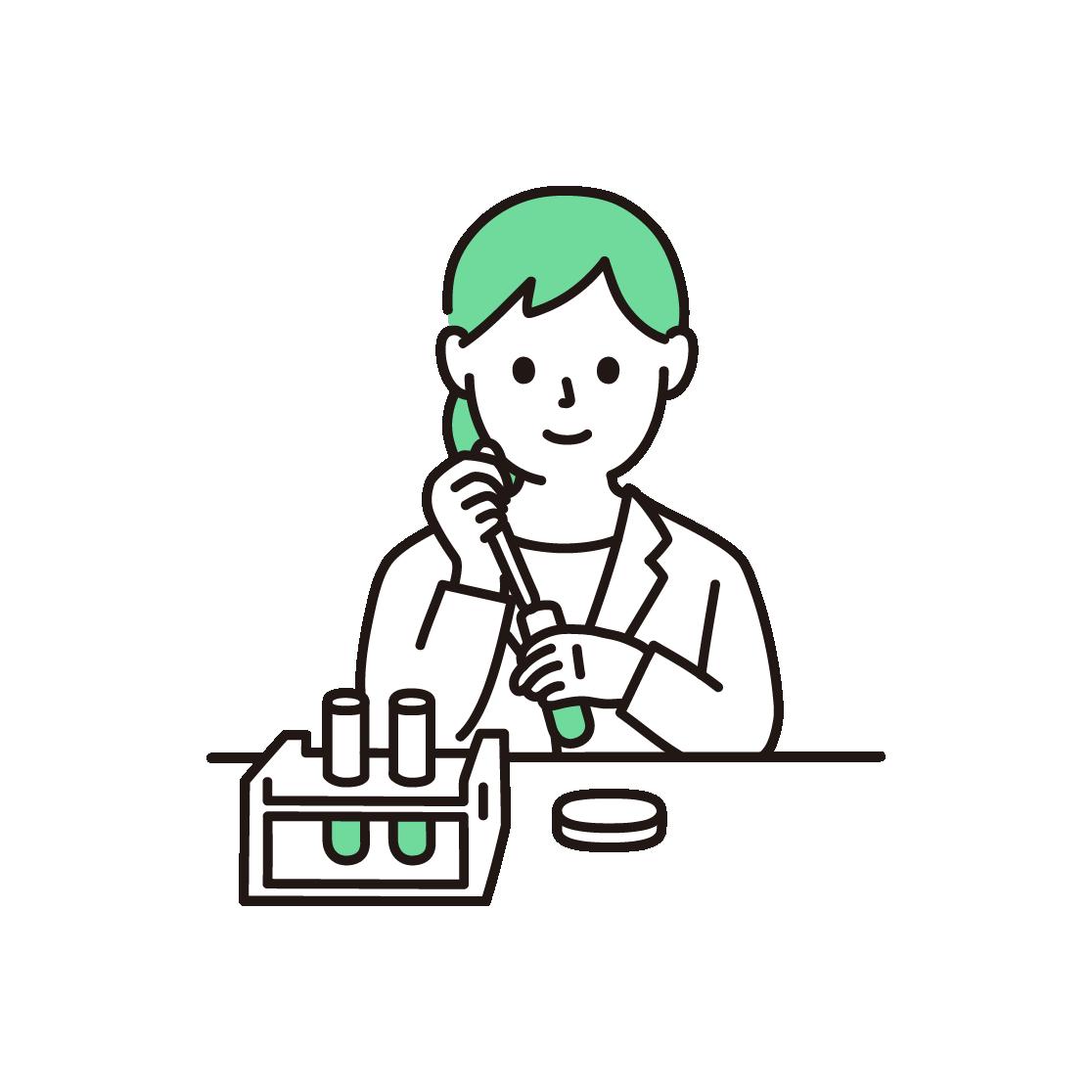 研究・科学実験をする女性の単色イラスト