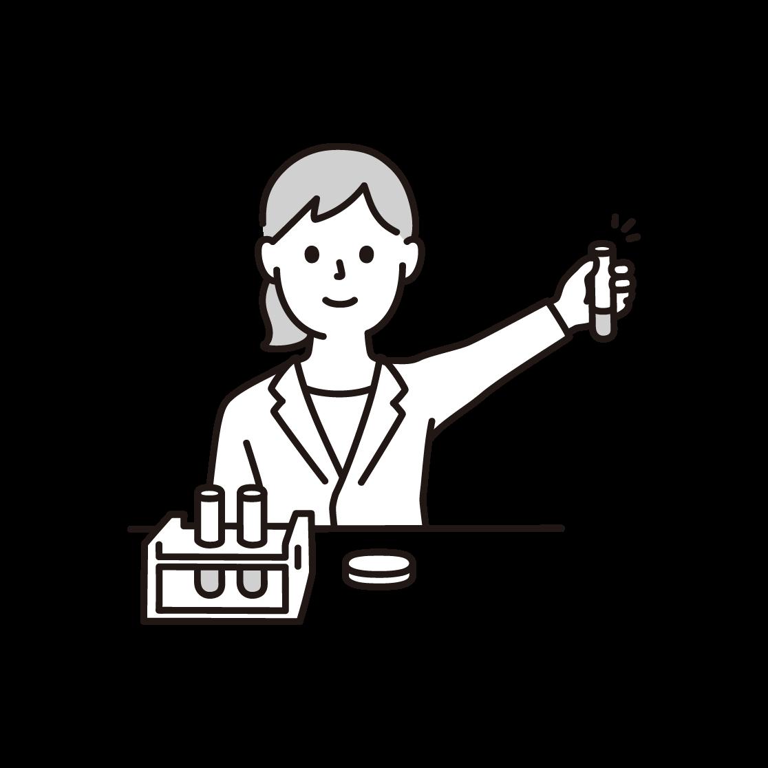 研究者(女性)の単色イラスト