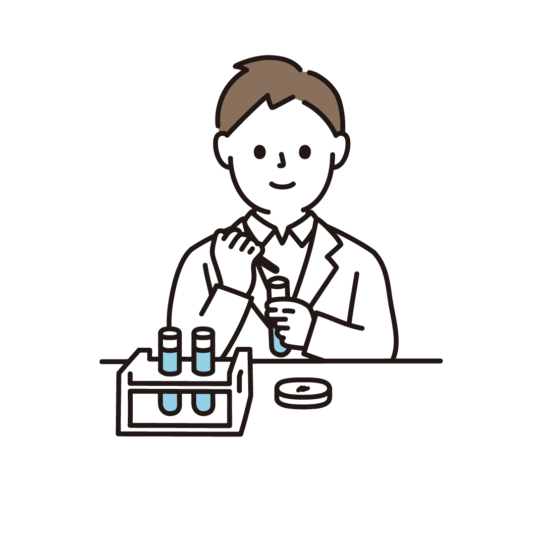 研究・科学実験をする男性のイラスト
