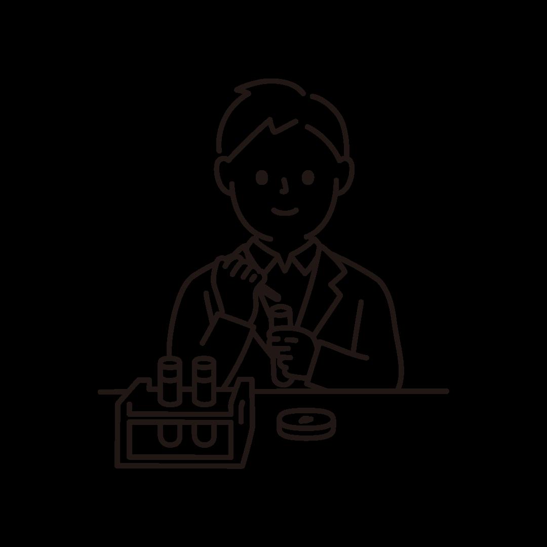 研究・科学実験をする男性のイラスト(線のみ)