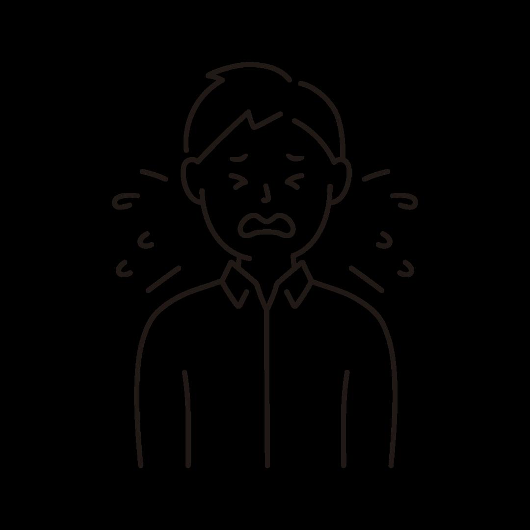 くしゃみをする男性のイラスト(線のみ)