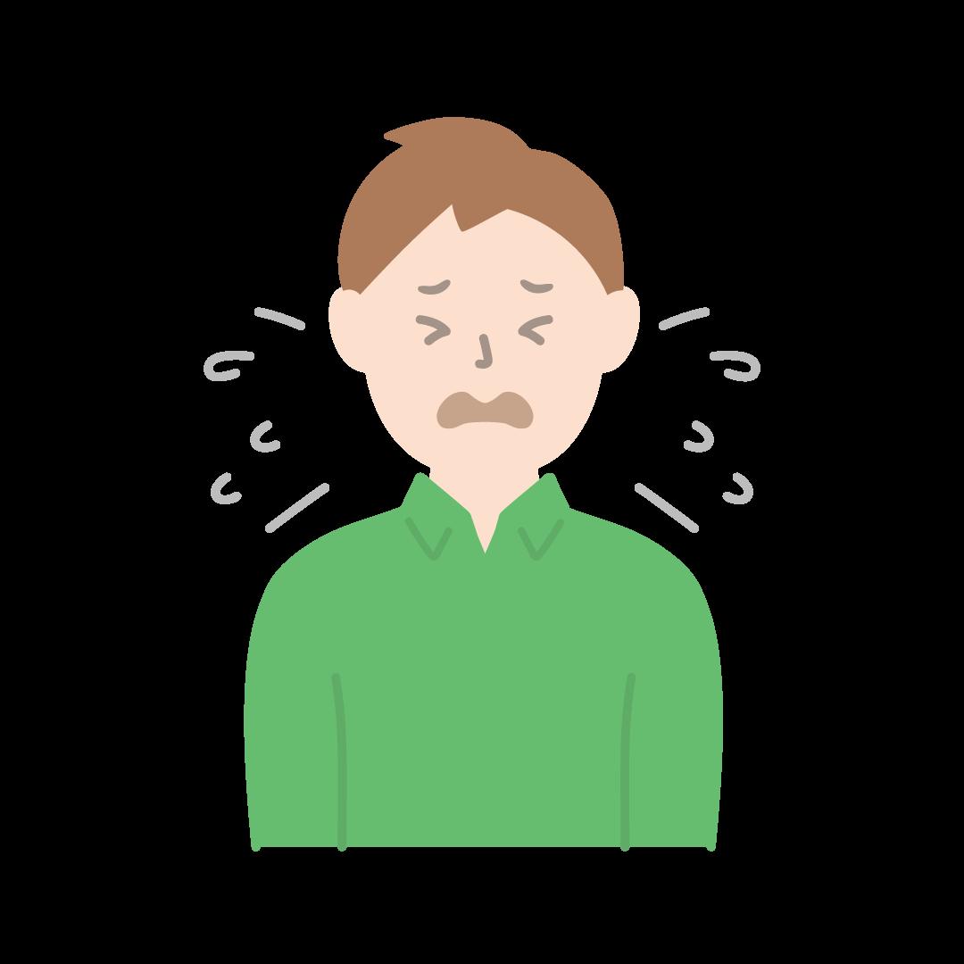 くしゃみをする男性のイラスト(塗り)